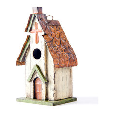 Glitzhome - Rustic Garden Distressed Wooden Church Birdhouse, Cross - Birdhouses