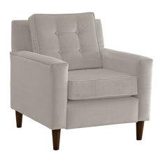Monroe Arm Chair Velvet Light Gray