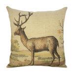 Deer Burlap Pillow Rustic Decorative Pillows By