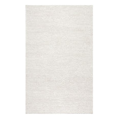 Handmade Braided Cable Off-White New Zealand Wool Rug, 9'x12'