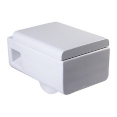 Square Modern White Ceramic Wall Mounted Toilet