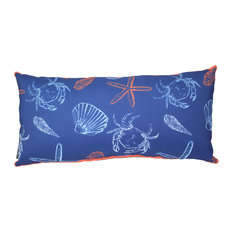 lava - Sea Sketch Indoor Outdoor Pillow, 24 quot;x12 quot; - Outdoor Cushions And Pillows