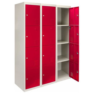 Modern Storage Cabinet, Red-Grey Finished Metal With 12-Door, Lockable Design