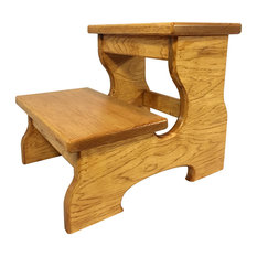 Cw Furniture Wood 2 Step Stool Natural Cherry Ladders And Stools