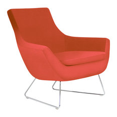 Rebecca Wire Chair, Chrome Plated Steel Tubes Base, Orange Leatherette