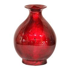 "Rachel 19"" Foiled & Lacquered Ceramic Vase, Red"