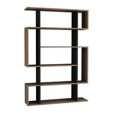 Decortie Design Inc - Mito Bookshelf, Oak and Anthracite - Bookcases