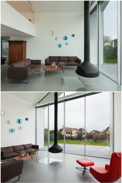 glass wall art can be an alternative for high ceiling spaces. I can help you with the project. .alvitradesign.com & Yorba Linda Living Room - Contemporary - Living Room - Orange County ...
