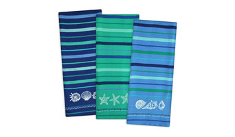 Embroidered Blue Sea Dishtowel, Set of 3