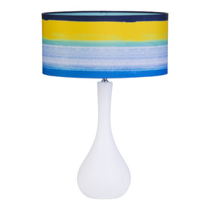 1 Light Gourd Shaped Table Lamp With Beach Style Shade