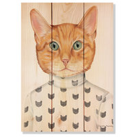 Orange Cat Indoor/Outdoor Full Color Wood Wall Art, 11x15