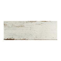 "8.25""x23.5"" Lambris Plank Porcelain Floor/Wall Tiles, Set of 8, White"