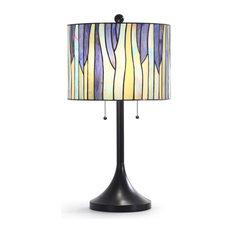 "BAROSSA 25""H Tiffany Table Lamp, Purple"