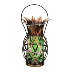 Pineapple outdoor lighting houzz inthegardenandmore green glass and metal solar indooroutdoor pineapple lantern outdoor aloadofball Gallery