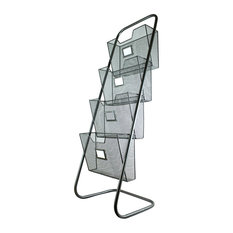 Metal Magazine Rack With 4 Baskets