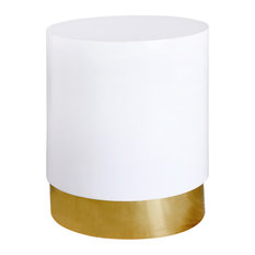 Deco End Table With White Lacquer Metal Top And Gold Metal Base