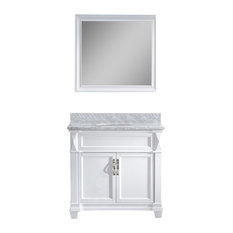 "Victoria 36"" Vanity, White, White Marble, With Mirror, Without Faucet, Round"
