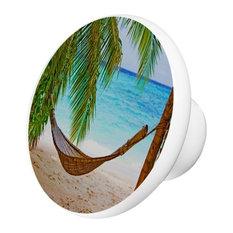 Beach With Bamboo Hammock  Ceramic Cabinet Drawer Knob
