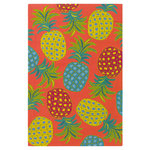 Company C - Pineapples Hand Hooked 5'x8' Outdoor Rug, Coral - As you can see, we're passionate for pineapples? In our cocktails? And on our floors! So, we tossed the festive fruit all over our colorful rug, added a vibrant coral ground to lend fun, tropical energy in any space you place it.