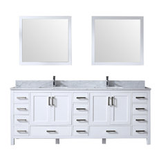 "84"" Double Vanity With Carrera Marble Top, Sink and 34"" Mirror, White"