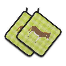 Miniature Mediterranian Donkey Green Pot Holders, Set of 2