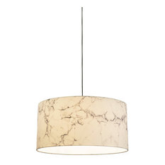 Marble LED Drop Pendant, White Marble Shades, 23.7""