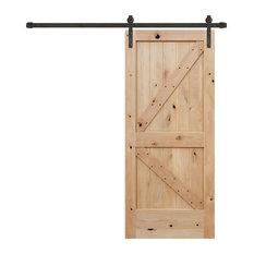 Unfinished Interior Knotty Alder K Panel V-Groove Barn Door, Bronze