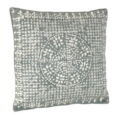 Graphic Geometric Blue Gray Accent Pillow | Square Cotton Throw Tribal Boho