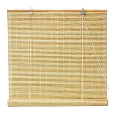 "Oriental Furniture - Bamboo Roll Up Blinds, Natural, 24""x72"" - Roller Shades"