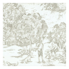 "French Country Pebble Toile 16"" Square Decorative Throw Pillow Cotton"