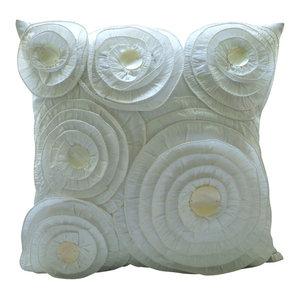 White Vintage Style Circular Frills 65x65 Silk Euro Pillowcase, Vintage Charm