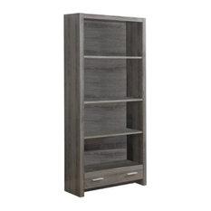 Scranton & Co 71-inch Bookcase With Storage Drawer In Dark Taupe