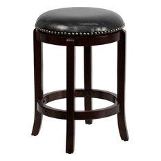 Roman Leather Swivel Bar Stool, Black and Cappuccino