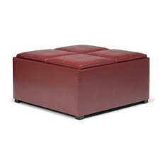 Simpli Home Avalon Faux Leather Coffee Table Storage Ottoman in Red
