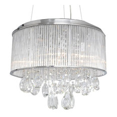 "ET2 E22296 Gala 22"" 15 Light Pendant, Polished Chrome/Clear Glass"