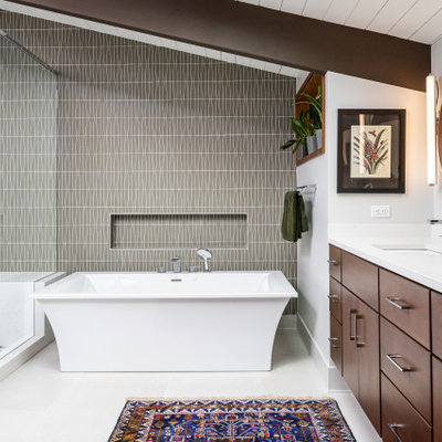 Inspiration for a mid-sized 1960s master gray tile and glass tile porcelain tile, white floor, double-sink and exposed beam bathroom remodel in Other with flat-panel cabinets, dark wood cabinets, a one-piece toilet, gray walls, an undermount sink, quartz countertops, a hinged shower door, white countertops and a floating vanity