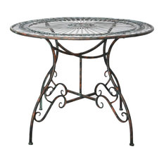 Demeure et Jardin - Gray-Green Forged Iron Round Side Table - Garden Side Tables