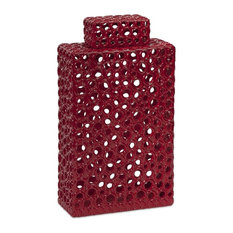 Classic and Lovely Style Red Carson Tall Cutwork Urn Home Decor