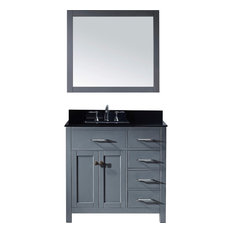 "Caroline Parkway 36"" Vanity, Without Faucet, Square, Right"