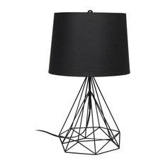 Elegant Designs Wired Metal Table Lamp, Black Matte