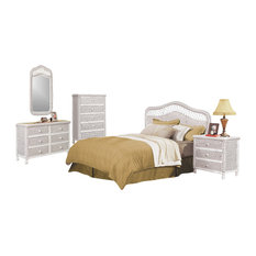 seawinds trading santa cruz tropical rattan and wicker 5 piece bedroom furniture set whitewash beach style bedroom furniture