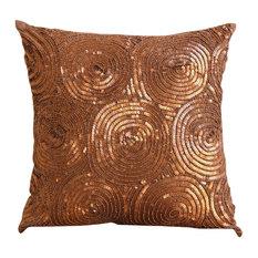 """Spiral Sequins Copper Pillow Shams, Art Silk 24""""x24"""" Pillow Sham, Copper Swirls"""