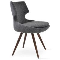 Chair, Dark Gray With Walnut Veneer Steel Base