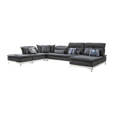 Grey Leather Sectional Sofas Houzz