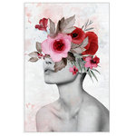 """Marmont Hill Inc. - """"Fierce and Fearless"""" Floater Framed Painting Print on Canvas, 40x60 - A beautiful woman, bare from just below the shoulders and up. Her lips are parted. Just above her nose is a bouquet of large pink and red flowers. This pop of color makes this posh photographic print even more alluring. Add a touch of glamour into your space with this piece. This piece is printed on canvas before it's stretched, and then framed and mounted in a non-warping floater frame thereafter. With wall-mounting hooks included, this artful accent is ready to hang up as soon as it reaches your front door."""