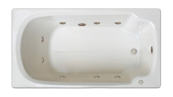 "Pinnacle Bath, 60""x32"", Drop-In Whirlpool Tub, Left Drain"