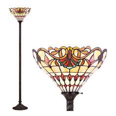 "Davis Tiffany-Style 70"" Torchiere Floor Lamp, Bronze"