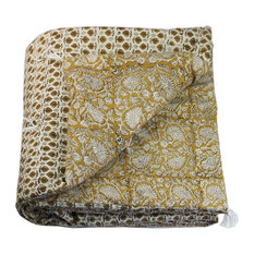 India Quilted Patterned Throw, Yellow Floral Print