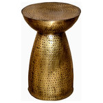 """Foreign Affairs Home Decor - HOBBIT Mushroom Shaped Metal Accent Table in Hammered Brass. - HOBBIT Mushroom Shaped Metal Accent Table in Hammered Brass. Perfect as side table in a seating arrangement or as a stand-alone design element. Lightweight and moveable. Lacquered surface provides easy maintenance. 20"""" high."""