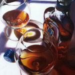 """Trisha Selgrath Fine Art - """"Delight"""" Original Oil Painting - This enticing composition is bisected into sunlight and shadow. The artist was interested in portraying not only the warm hues of the liquor but also how they are reflected upon the white tablecloth in direct light and shadow. Many interesting colors and shapes emerged in reflections of the bottles and snifters."""